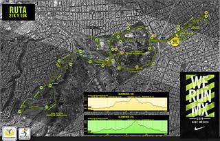 ruta carrera nike we run mexico 21K 10K 2014