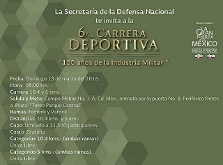 Publican convocatoria de la Carrera Deportiva 100 años de la Industria Militar