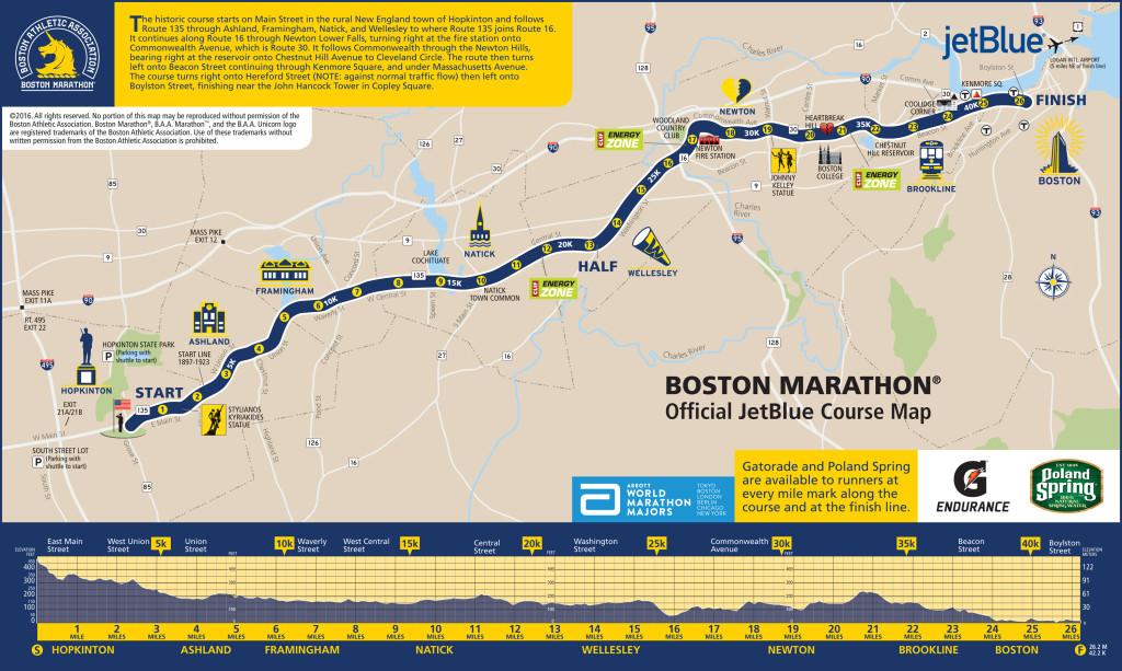 ruta del maraton de boston 2016 mapa hearbreak hill boyslton
