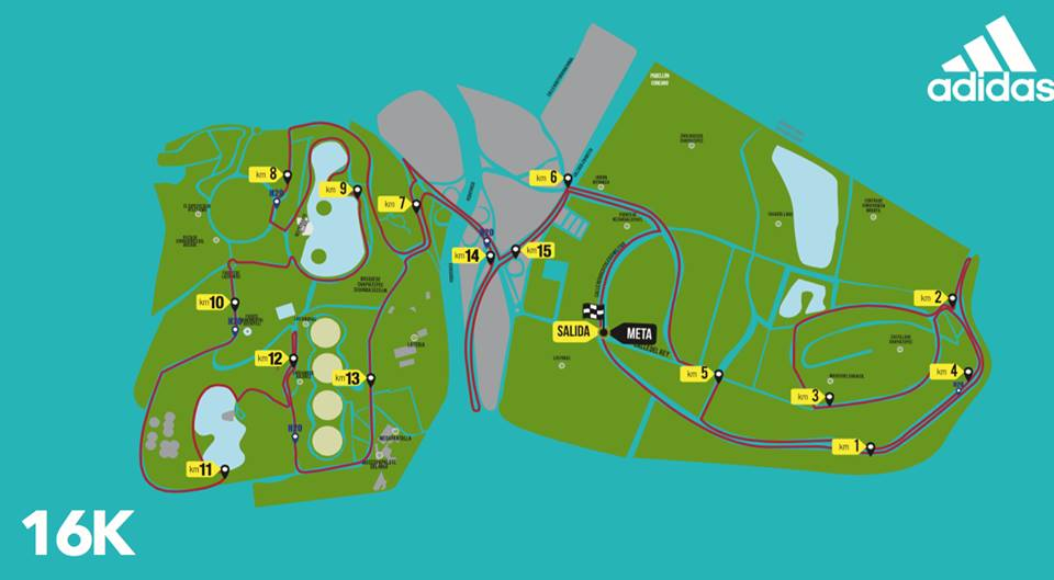 ruta split adidas 16K 2016 ciudad de mexico maraton 21K