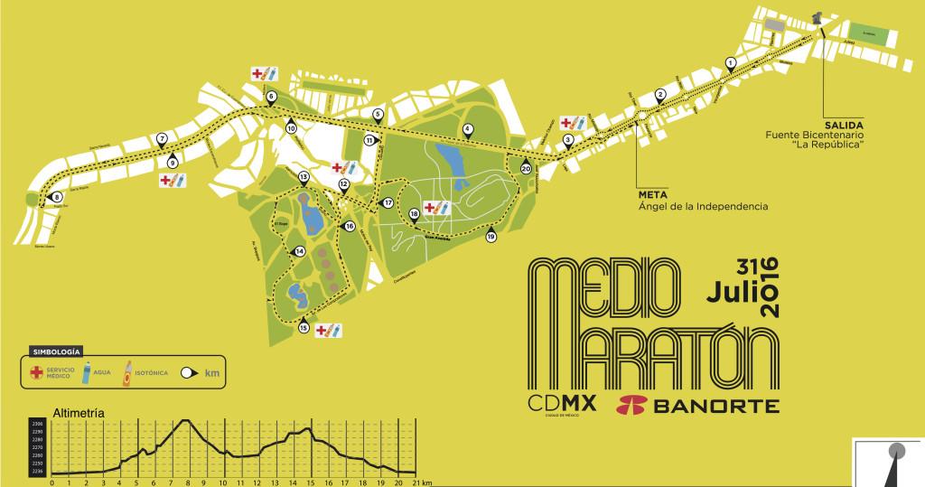 ruta medio maraton de la ciudad de mexico 2016 21K