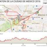 Mapa de la ruta del Maratón de la Ciudad de México 2016