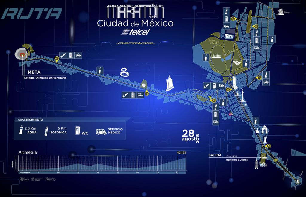 ruta maraton ciudad de mexico 2016 altimetria