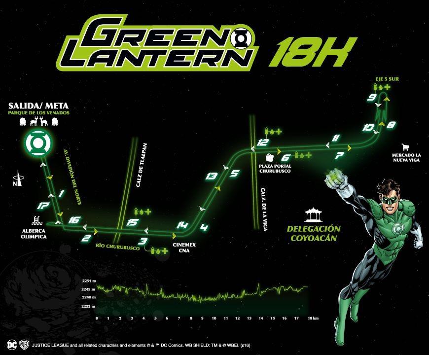 ruta carrera linterna verde 18 liga de la justicia