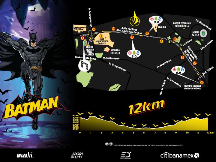 carrera Batman 12K 2017 ruta 12K