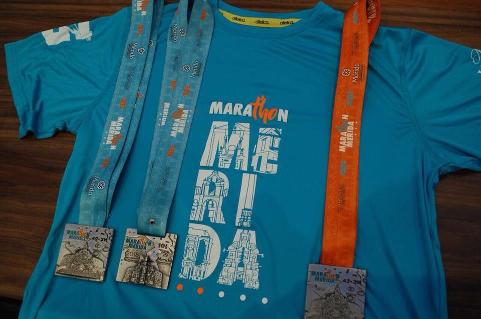 playera medalla maraton merida 2018