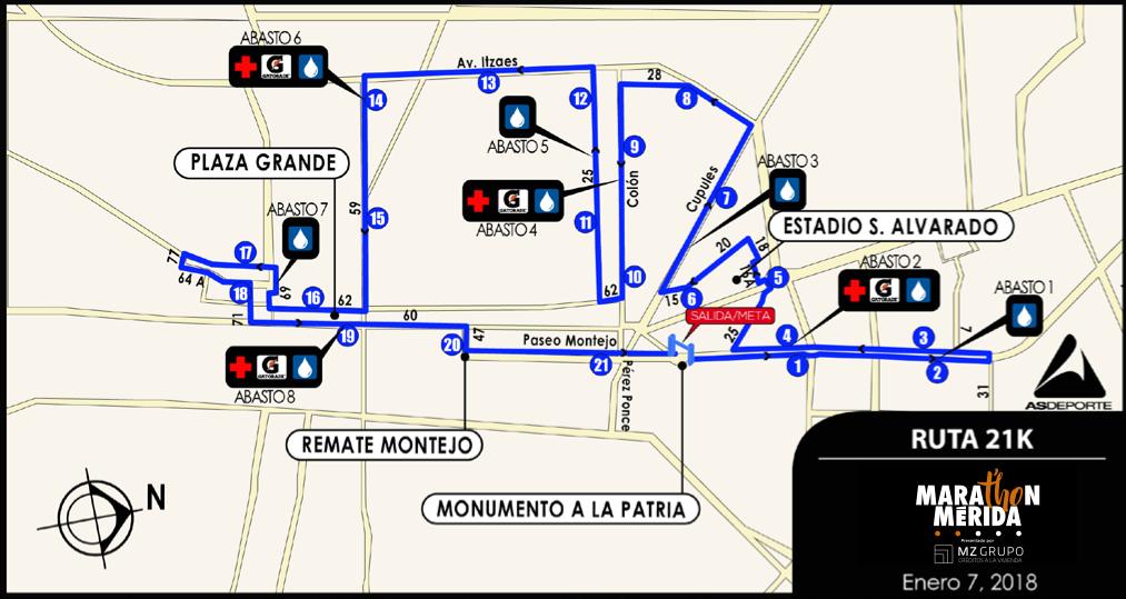 ruta 21K maraton merida 2018