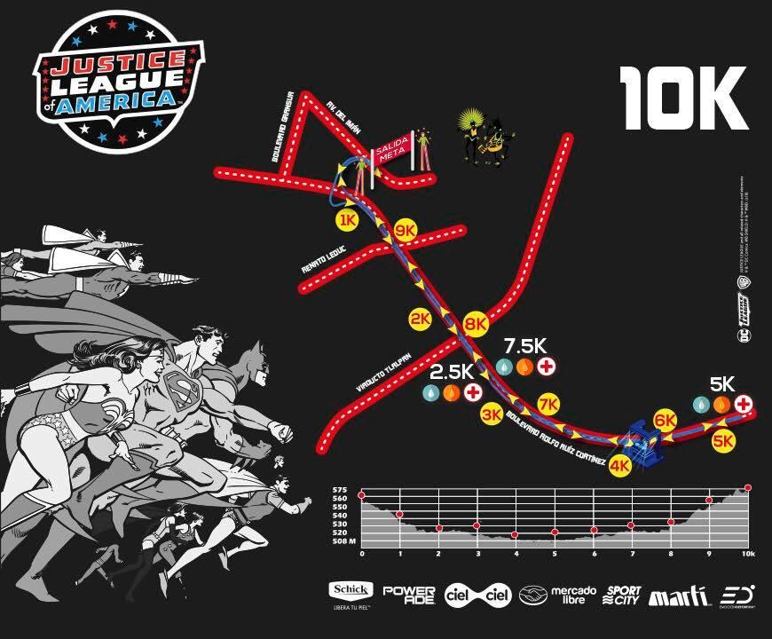 ruta carrera liga de la justicia 10K