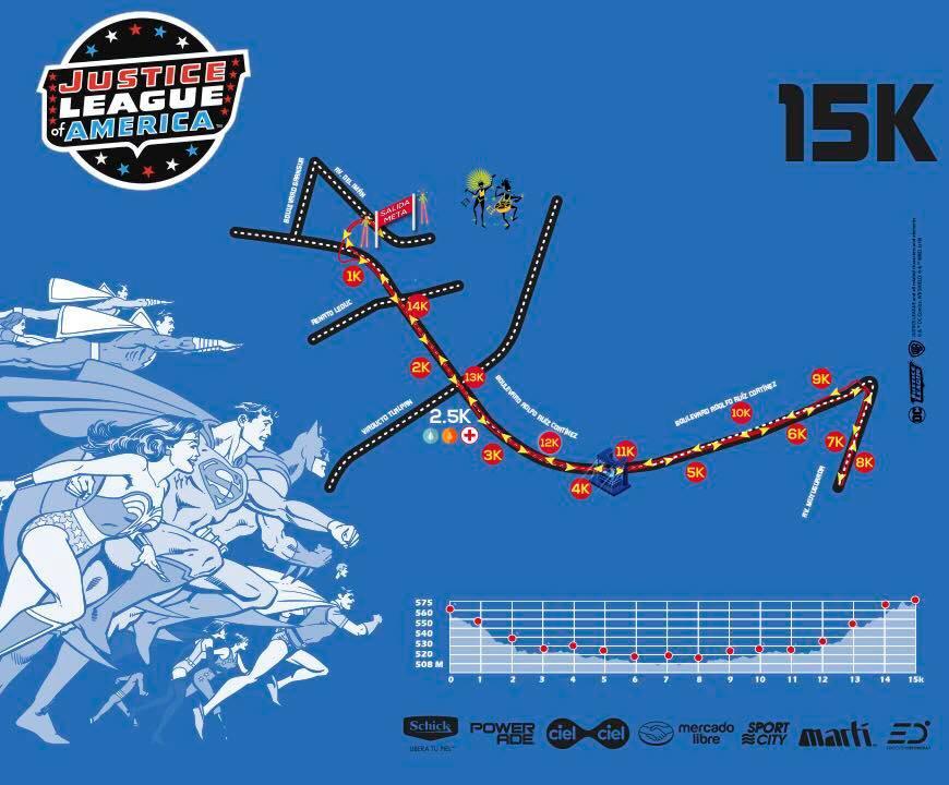 ruta carrera liga de la justicia 15K
