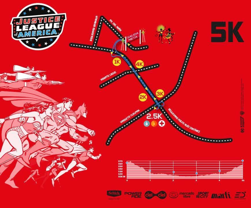 ruta carrera liga de la justicia 5K