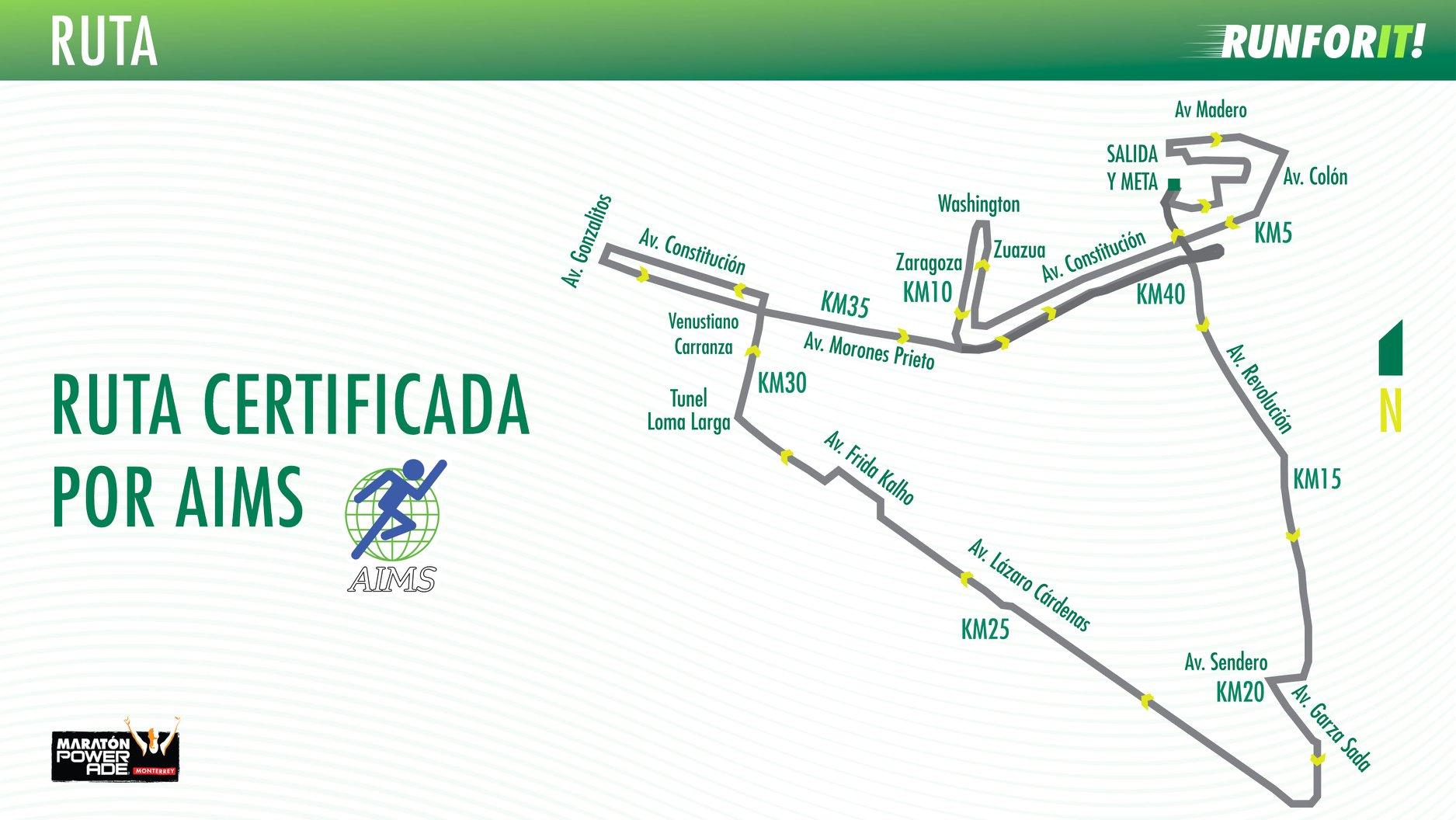ruta maraton monterrey 2018