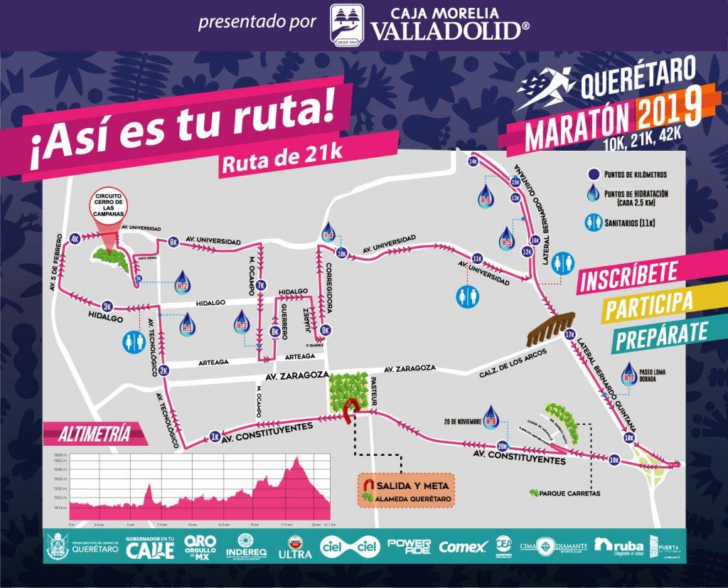 ruta 21K maraton queretaro 2019