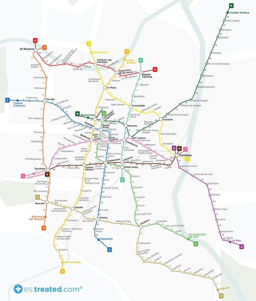 mapa calorias metro ciudad de mexico
